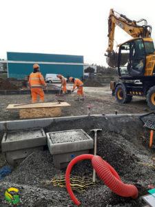 Préparation de la dalle de béton pour la pose du container électrique